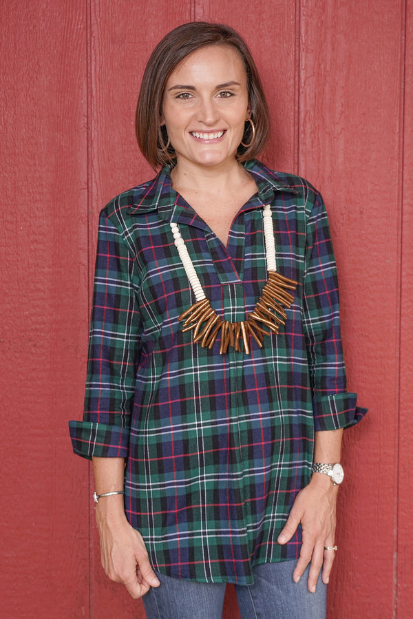 Popover Tunic in Flannel Plaid