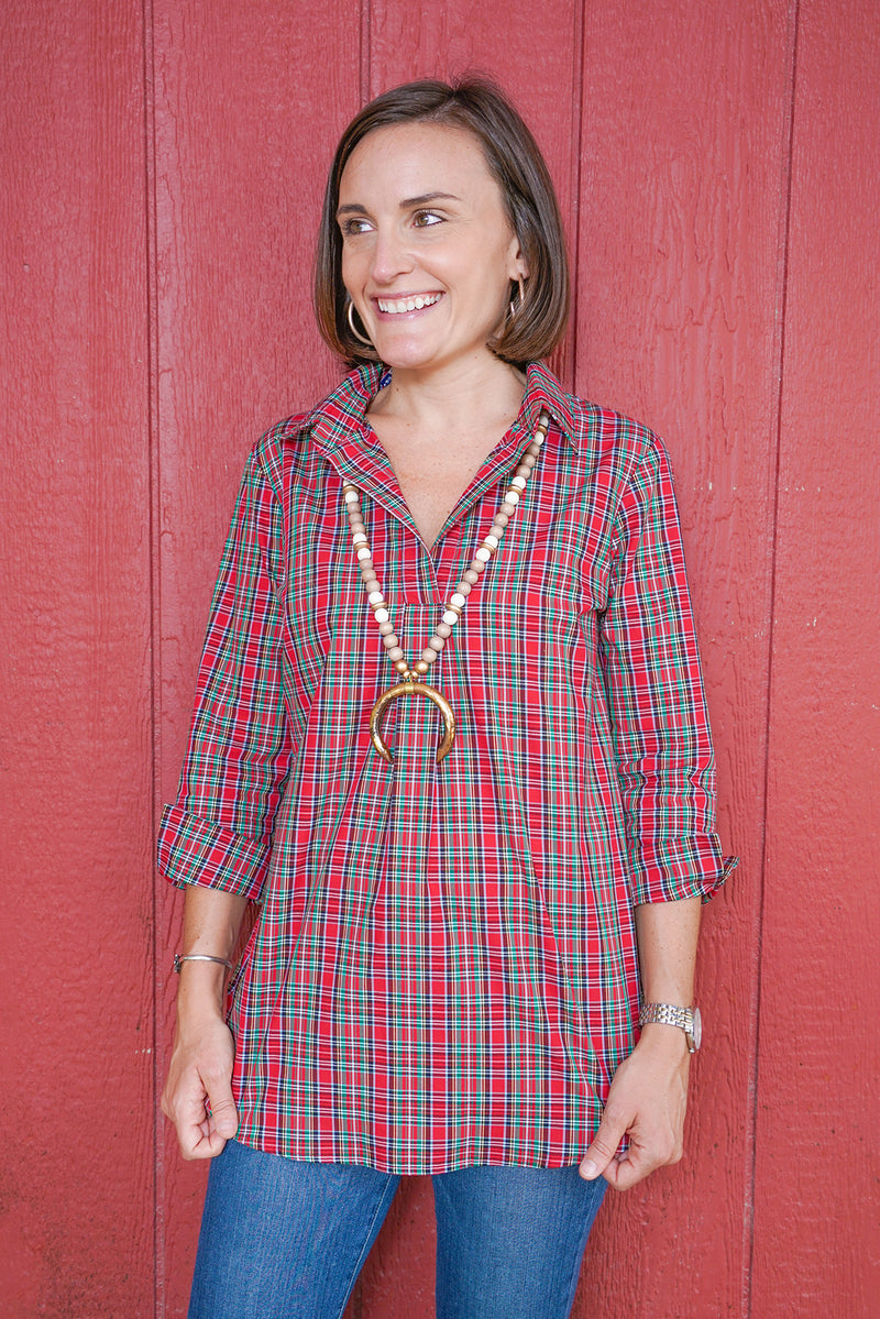 Popover Tunic in Holiday Tartan