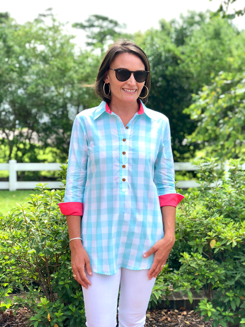 Popover Tunic in Mint Checker