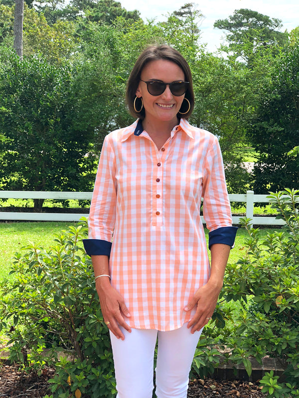 Popover Tunic in Peach Checker