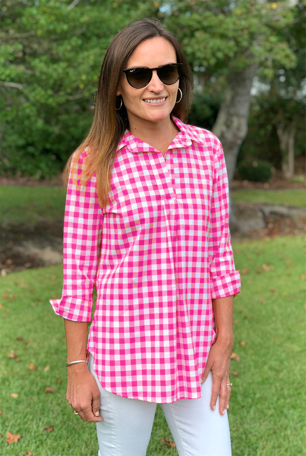 Popover Tunic in Hot Pink Check