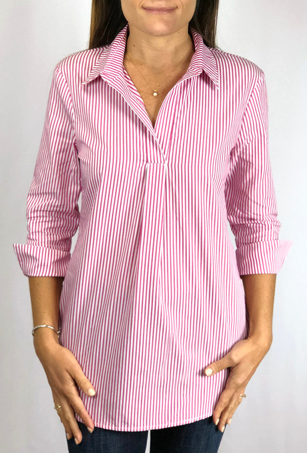 Popover Tunic in Pink Stripe