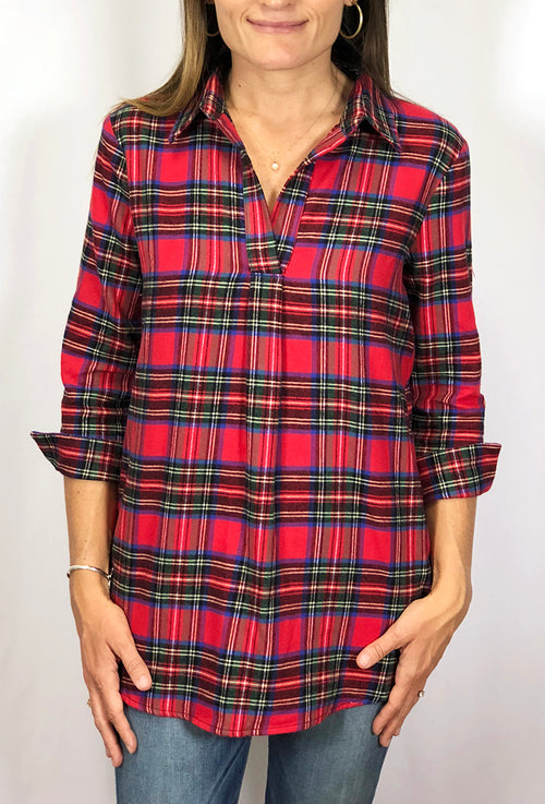 Popover Tunic in Red Flannel