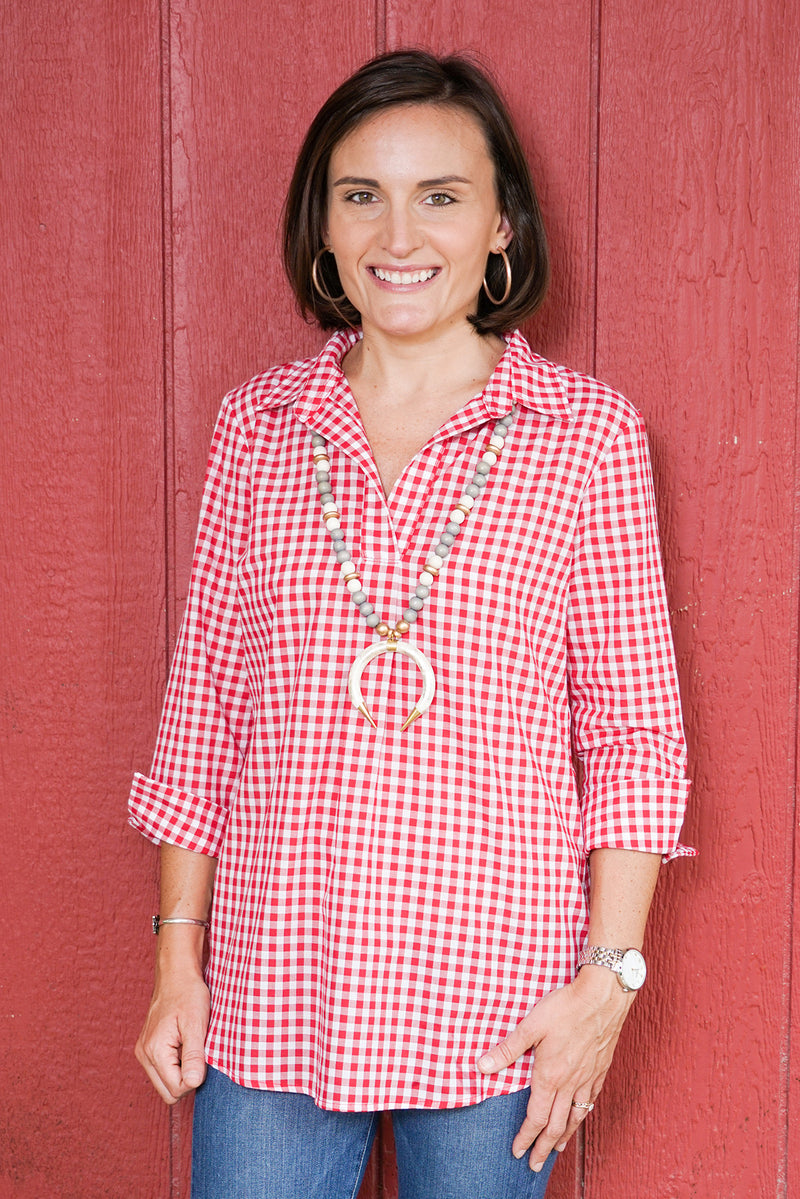 Popover Tunic in Red Gingham