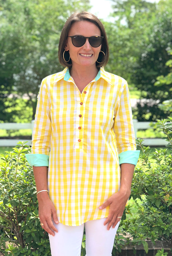 Popover Tunic in Yellow Checker