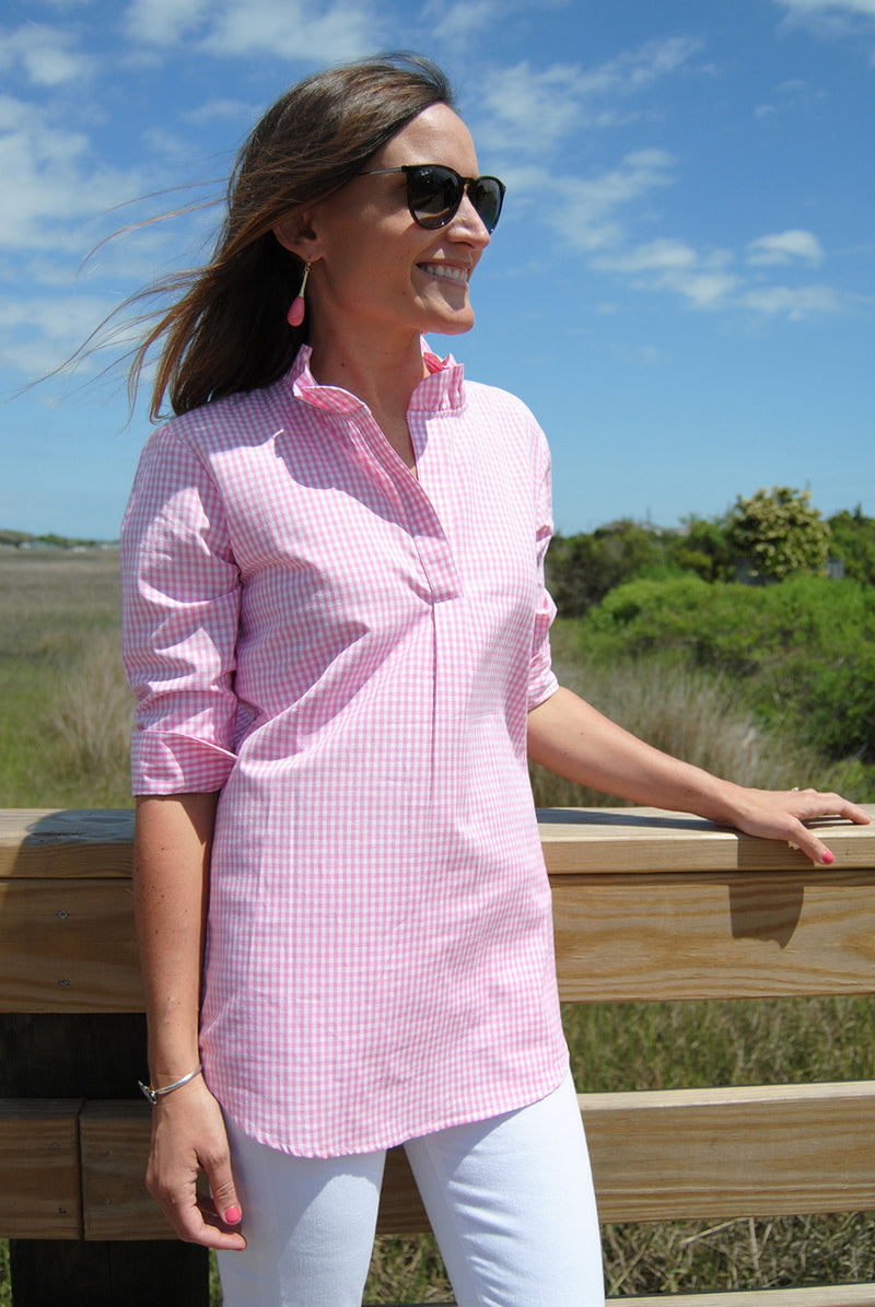 Ruffle Popover Tunic (Seersucker and Gingham)