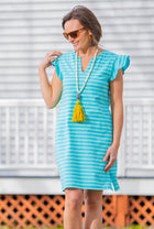 Ruffle Sleeve Dress in Aqua Stripe