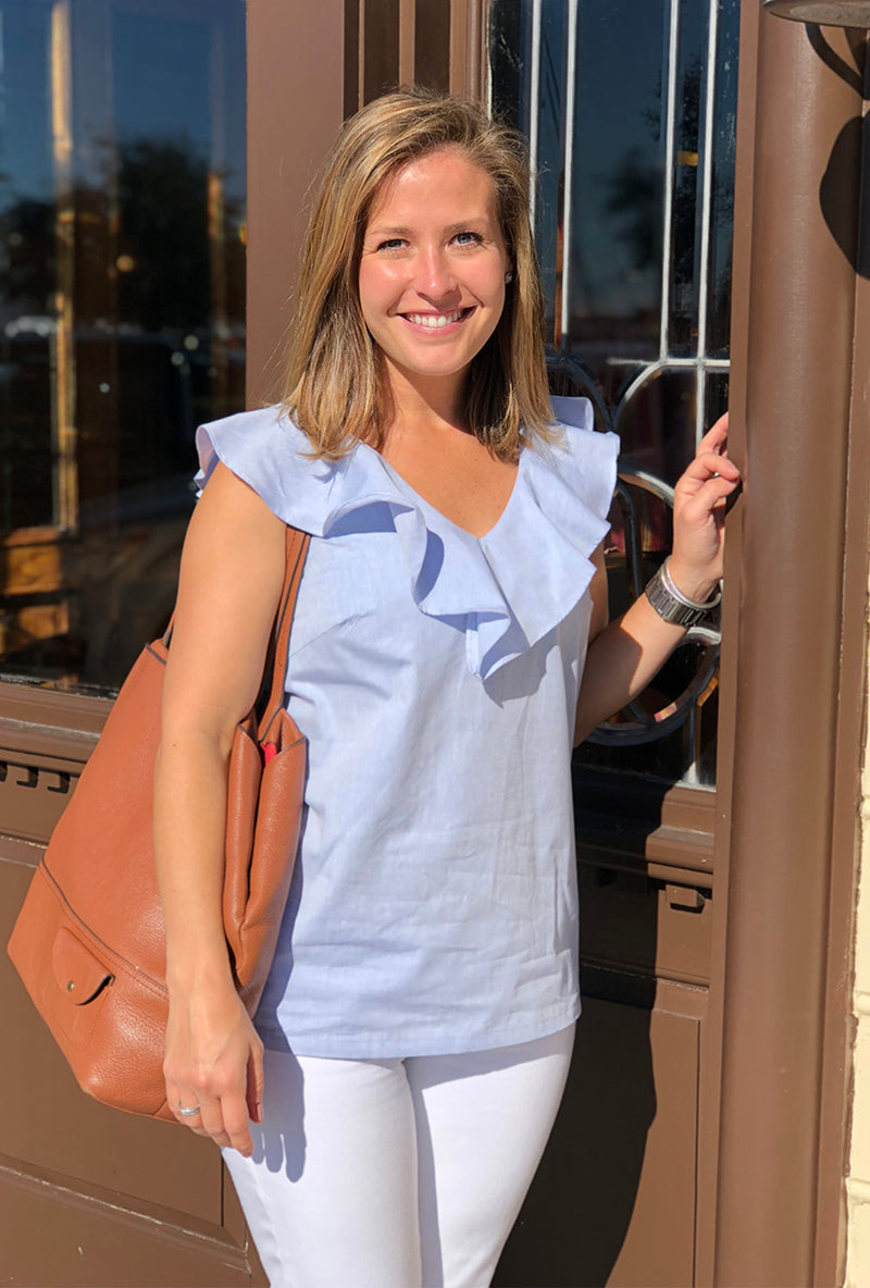 V Neck Ruffle Top in Chambray
