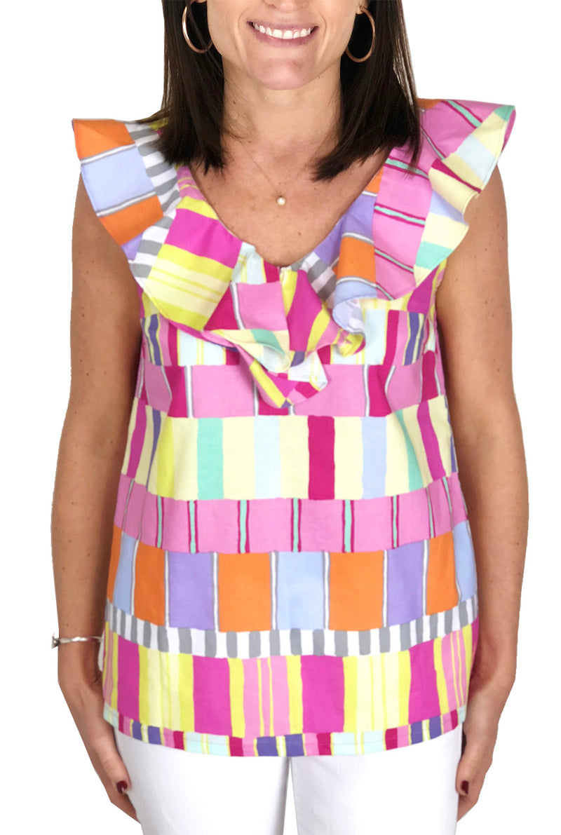 V Neck Ruffle Top in Abstract Squares