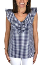 V Neck Ruffle Top in Navy Gingham