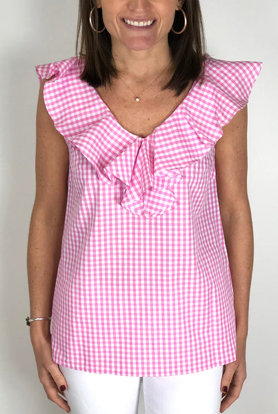 V Neck Ruffle Top in Pink Gingham