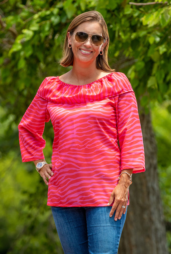 Ruffled Haley Tunic in Pink and Red Zebra