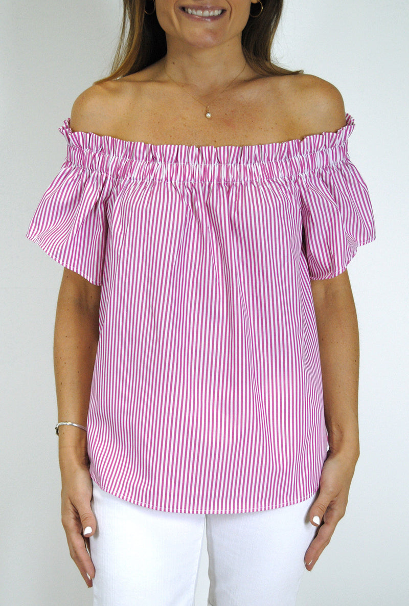 Ruffled Betty Top in Hot Pink Stripes