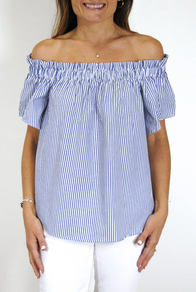 Ruffled Betty Top in Royal Blue Stripes
