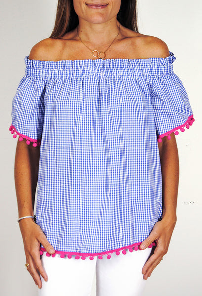 Ruffled Betty Top in Sky Gingham with Hot Pink Single Poms