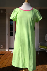 Amelia Dress - Solid Lime with Hot Pink Trim