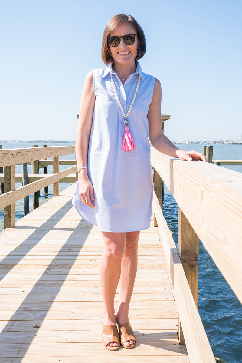 Sleeveless Popover Dress in Blue Chambray