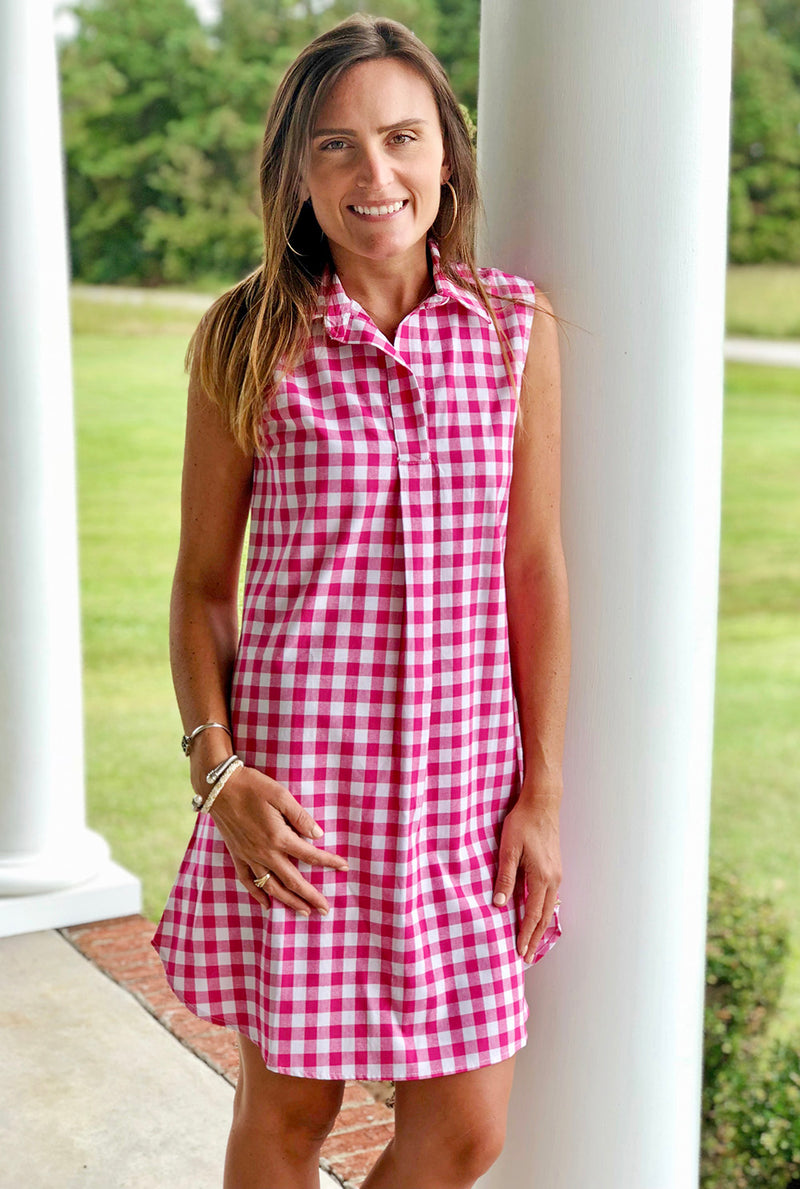 Sleeveless Popover Dress in Hot Pink Check