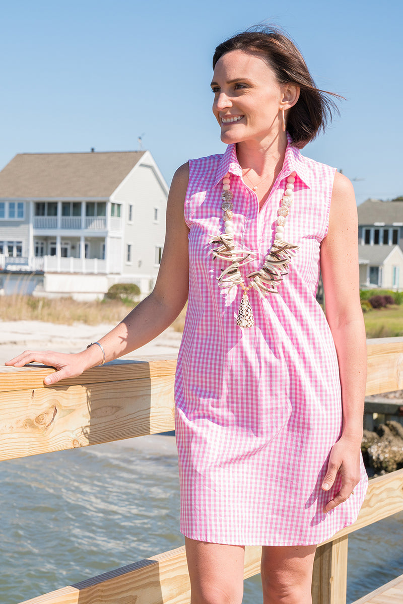 Sleeveless Popover Dress in Pink Gingham