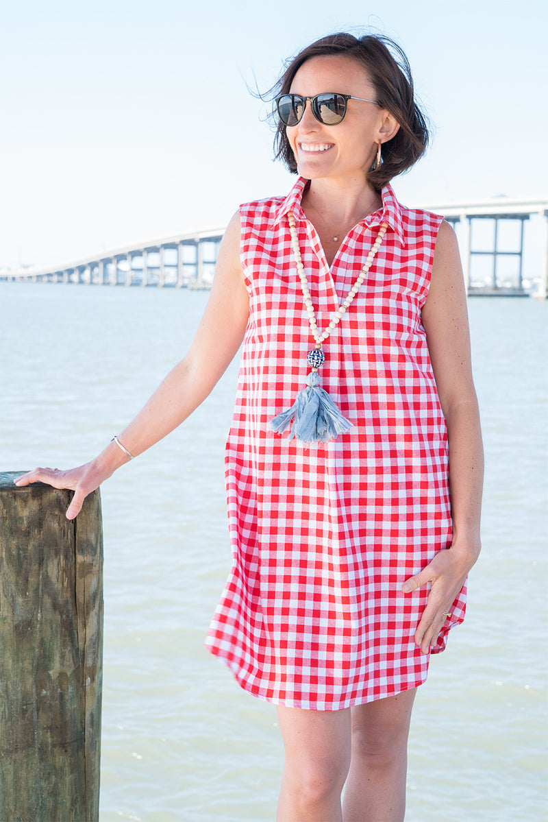 Sleeveless Popover Dress in Red Check