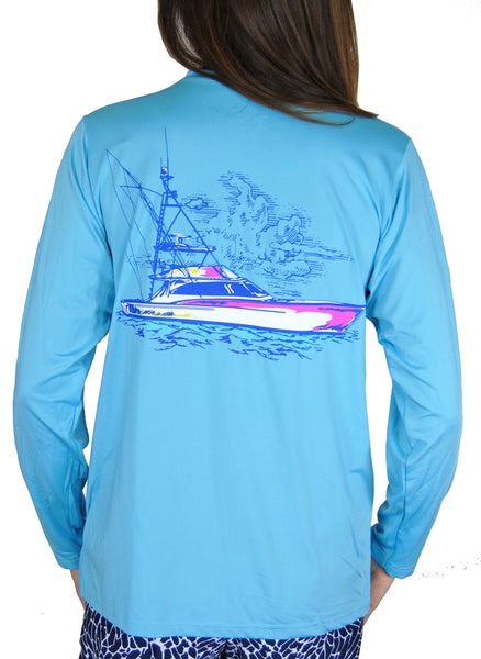 SPF T-shirt in Sportfishing Boat on Aqua