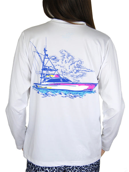 SPF T-shirt in Sportfishing Boat on White
