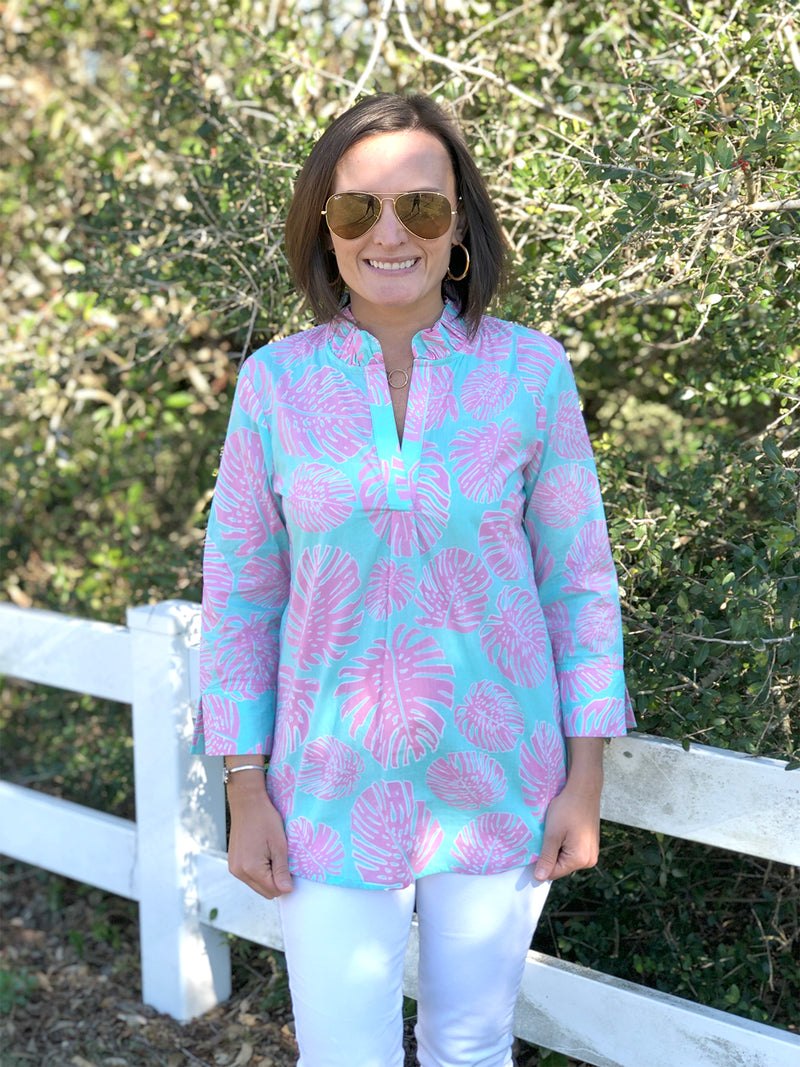 Ruffle Popover Tunic in Aqua Palms