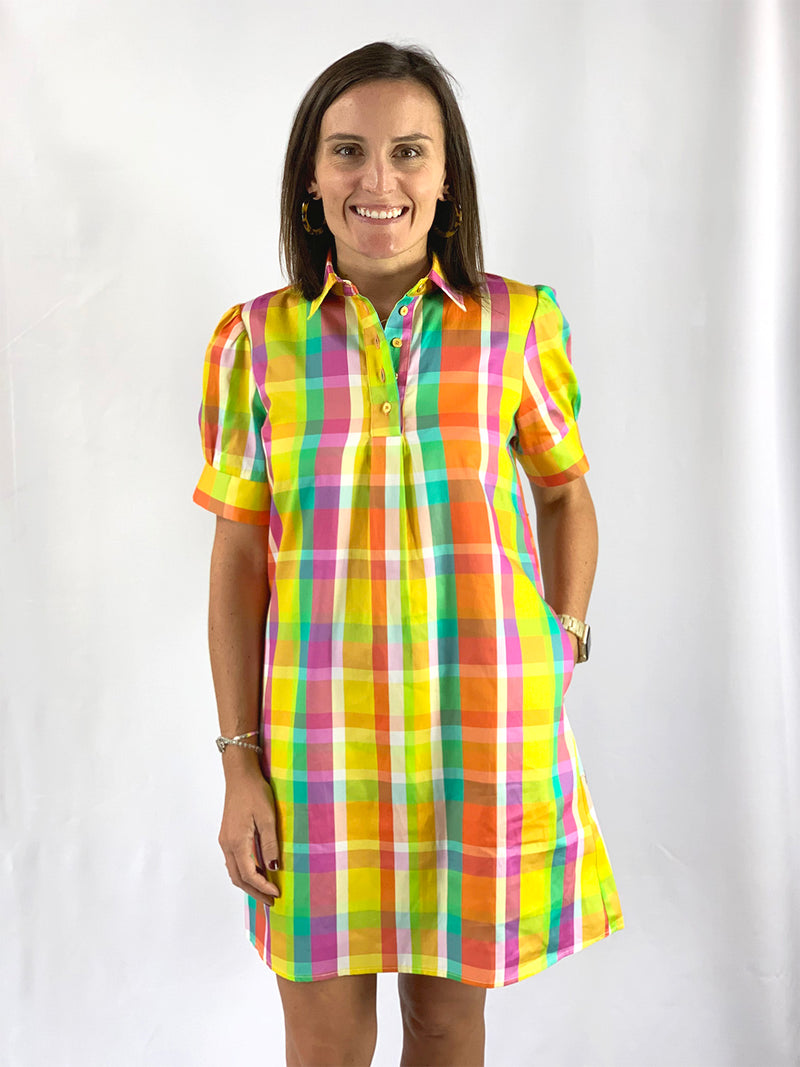 Short Sleeve Popover Dress in Yellow Madras
