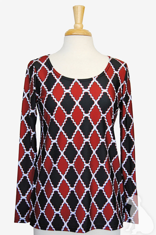 Scoopneck Tunic in Black and Garnet Medallion