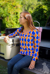 Scoopneck Tunic in Orange and Blue Medallion