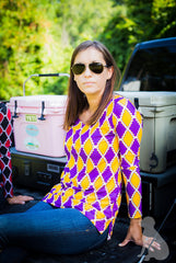 Scoopneck Tunic in Purple and Gold Medallion