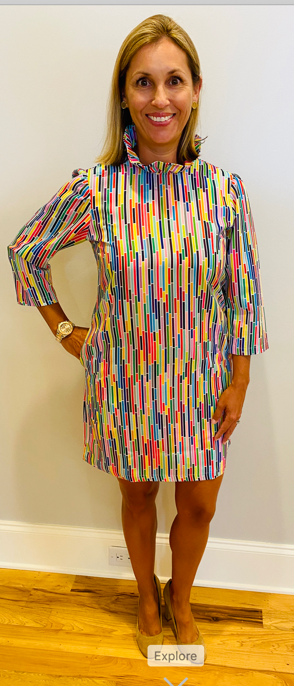 Macon Dress-Geometric Stripe