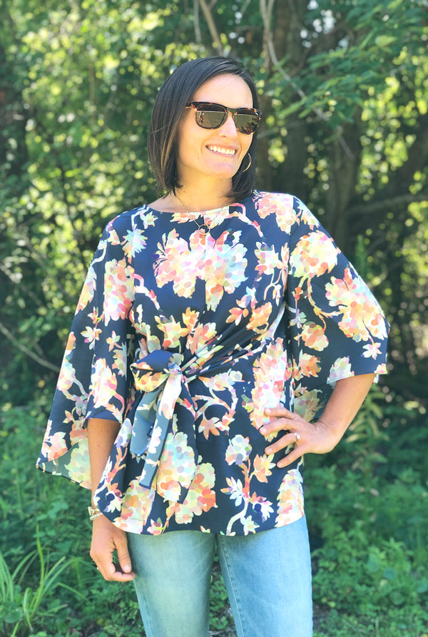 Shelley Top in Navy Pippa Floral