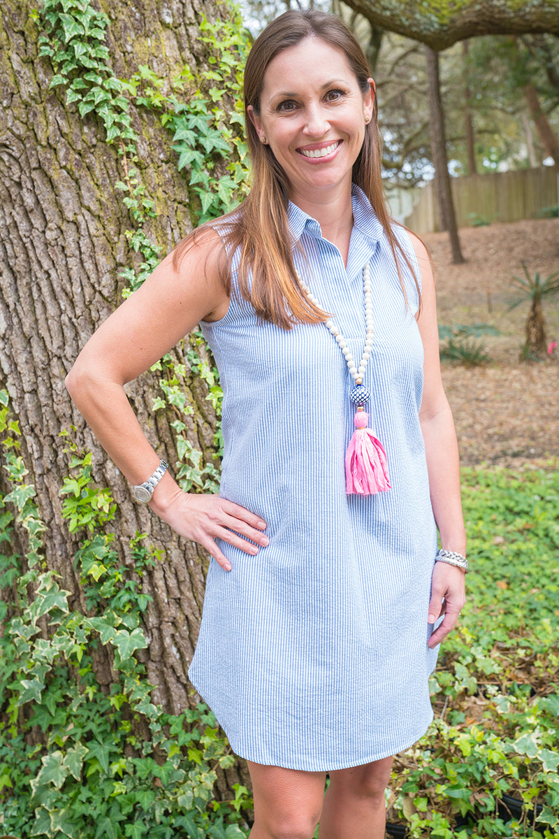 Sleeveless Popover Dress in Blue Seersucker