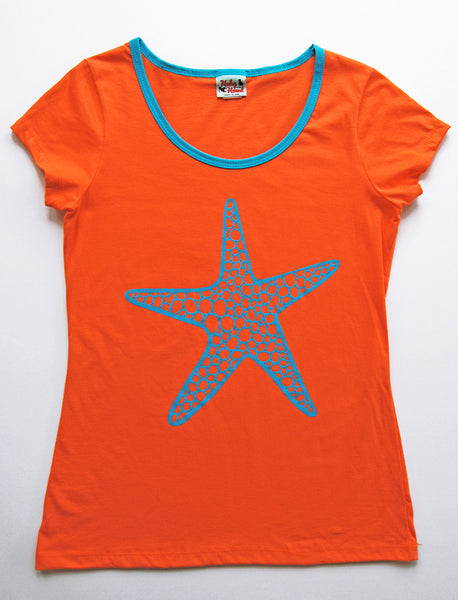 Amelia Tee in Orange Starfish