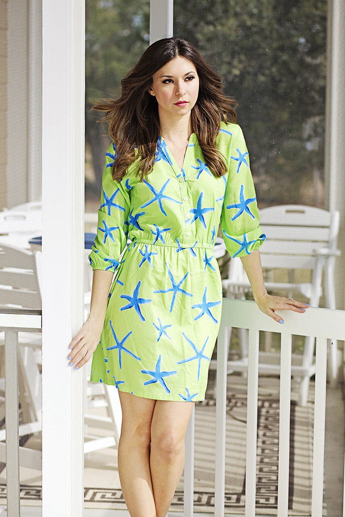 Stella Dress in Lime Starfish