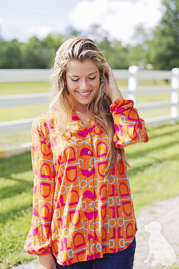 Stella Shirt in Orange Equestrian