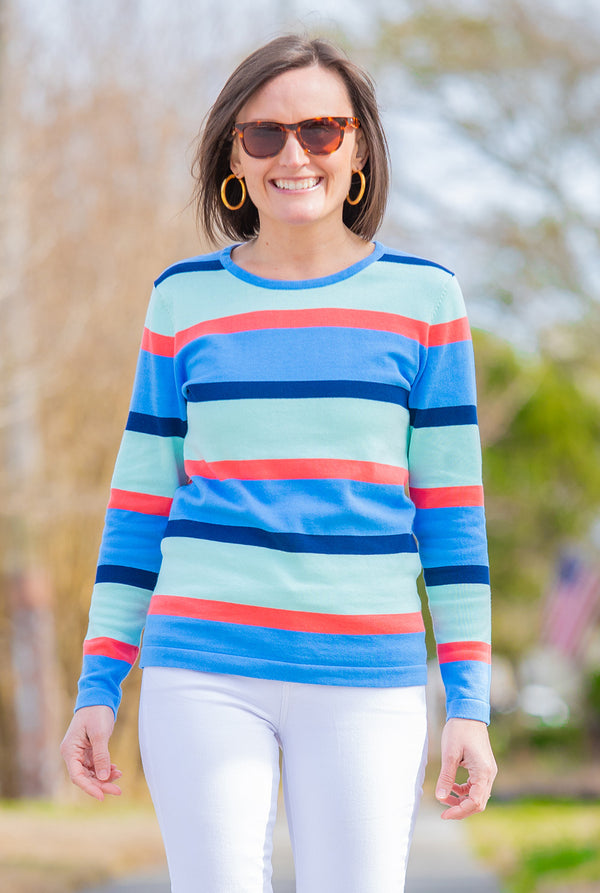 Spring Stripe Sweater in Blue