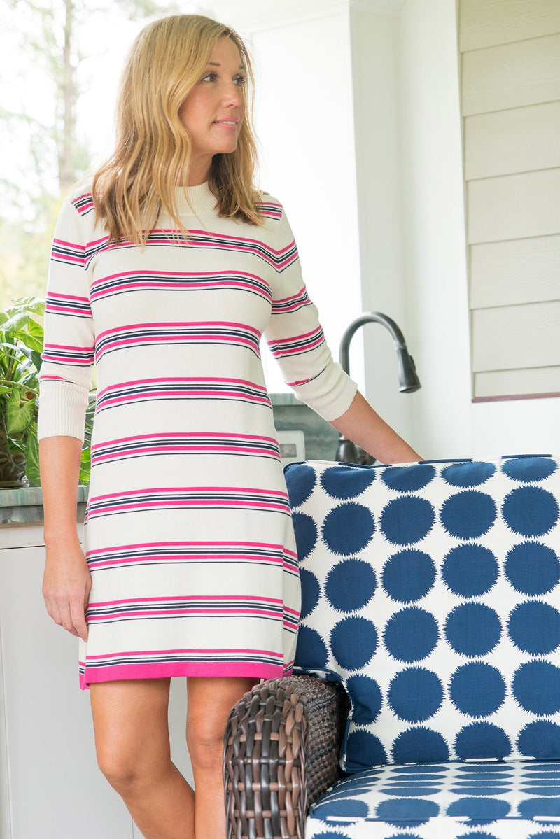 Sweater Dress in Pink and Navy Stripe