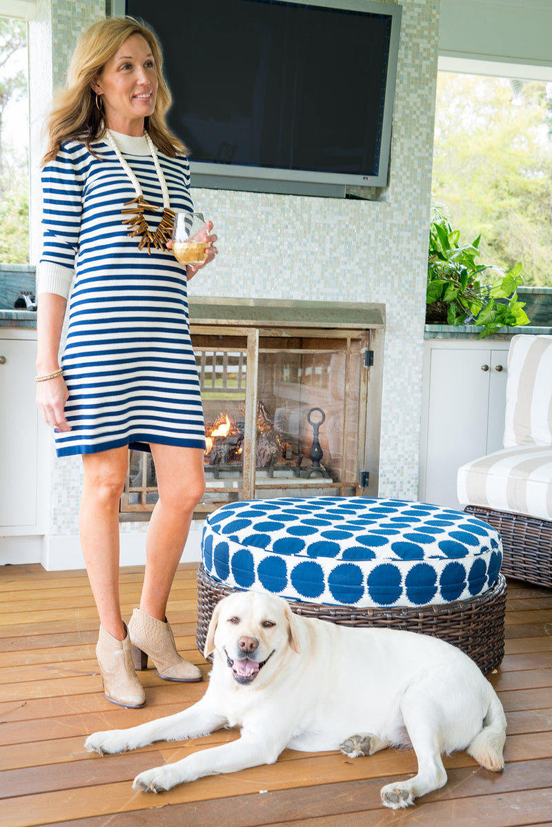 Sweater Dress in Navy and Ivory Stripe