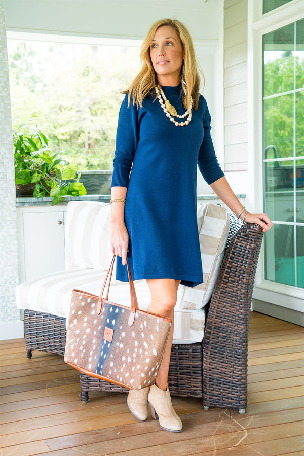 Sweater Dress in Navy Solid