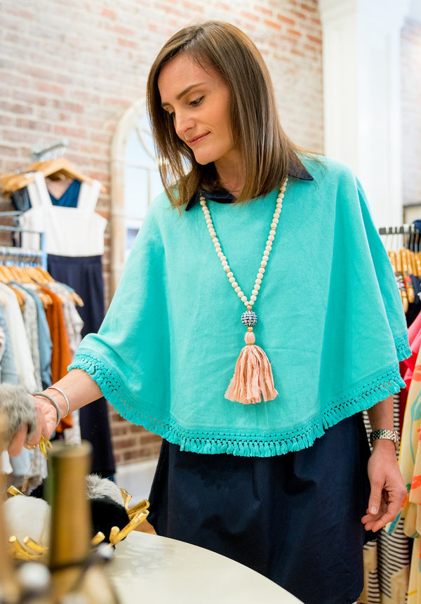 Fringe Topper in Aqua