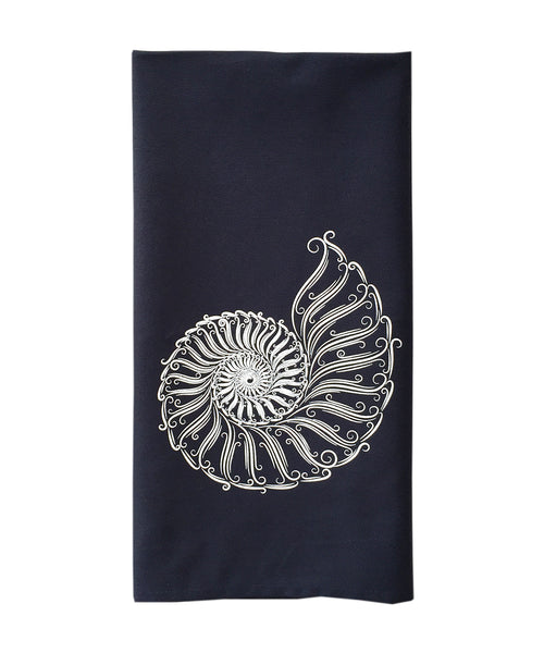 Tea Towel - Navy with White Nautilus