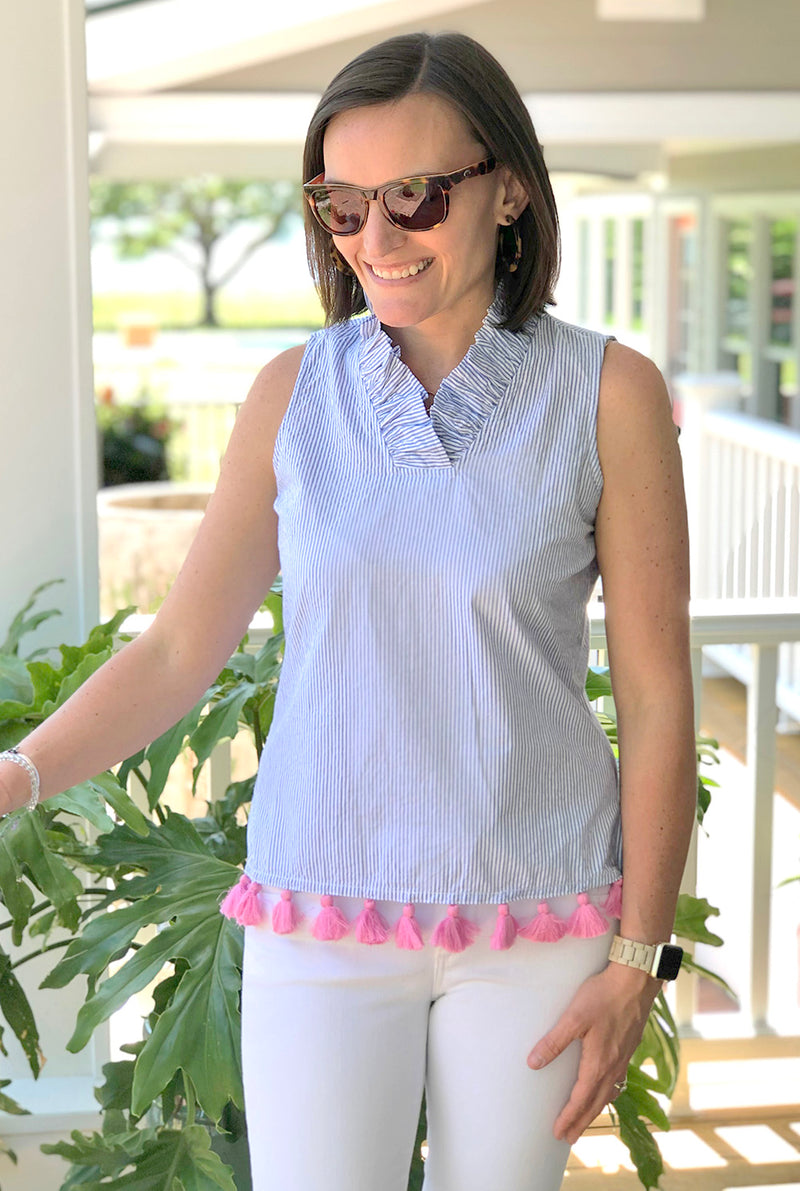 Tassel Parker Top in Blue Seersucker with Pink Tassels