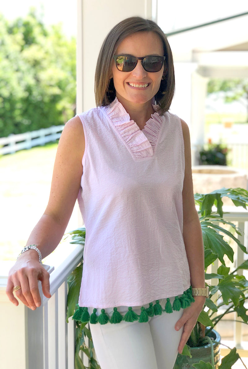 Tassel Parker Top in Pink Seersucker with Green Tassels
