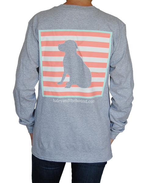 Coral Stripe Lab T-Shirt in Gray