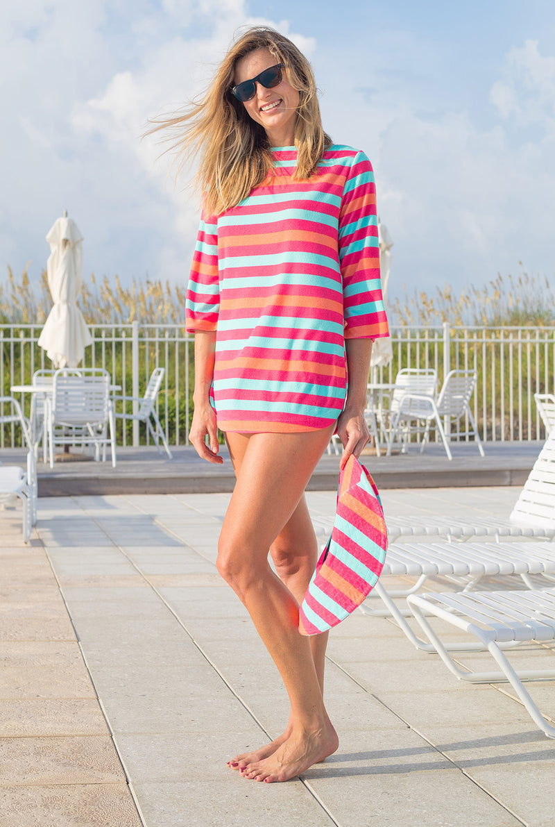 Terry Boatneck Cover Up in Multi Stripe