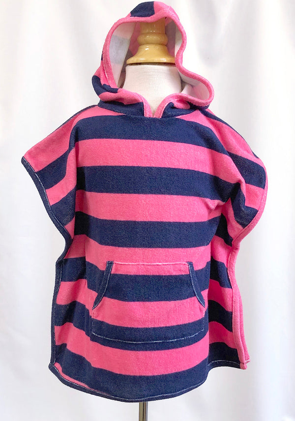 Girls Terry Hooded Cover Up in Navy & Pink Stripe