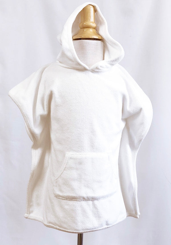 Girls Terry Hooded Cover Up in White