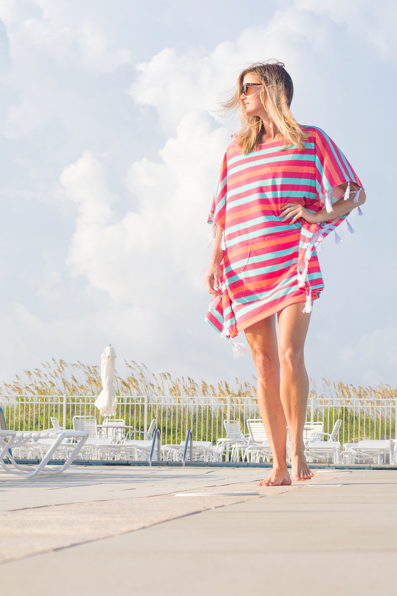 Terry Poncho Cover Up in Multi Stripe